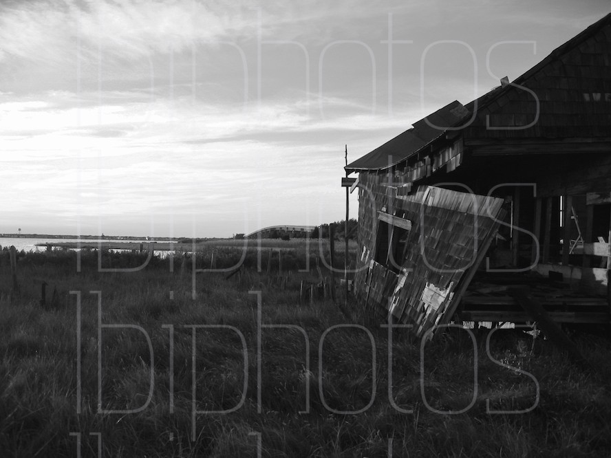 Long Beach Island (LBI) Happy Days Shack Side at Sunset (BW)