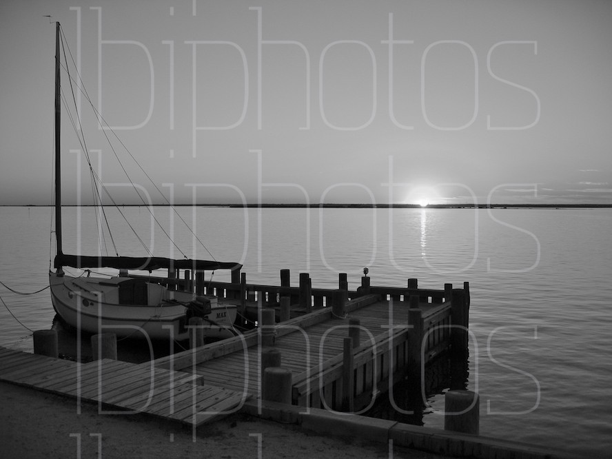 Harvey Cedars Dock at Sunset (BW)