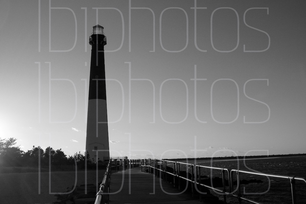 Barnegat Lighthouse from the Fishing Pier (BW)