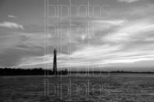Lighthouse Orange Sky 01 (BW)