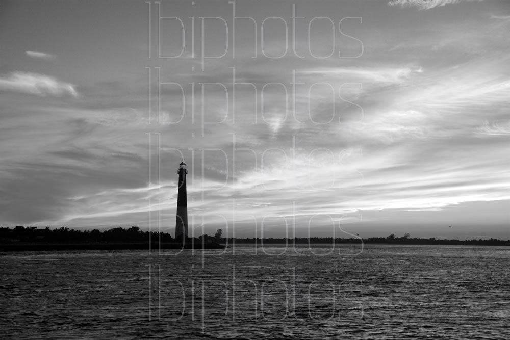 Lighthouse Orange Sky 01 (BW)